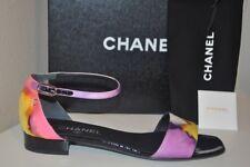 CHANEL Ankle Strap Slingback Sandal Block Heel Shoe Silk Fabric Multi Color S 40