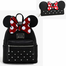 Disney MINNIE  MOUSE with EARS Mini Backpack Purse AND WALLET