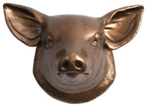 The Hamlet - Large Resin Faux Pig Head Wall Mount - White Faux Taxidermy®