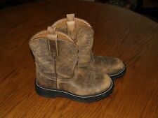 WOMENS~ARIAT~FAT BABY~WESTERN~BOOTS~Size 8 B~LEATHER~COWBOY~BUCKSKIN~BROWN