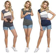 Happy Mama. Women's Nursing Double Layer Top Colour Block Design Pregnancy. 369p