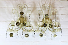Pair Laura Ashley Toleware Wall Lights Glass Droplets Distressed Antique Style 1