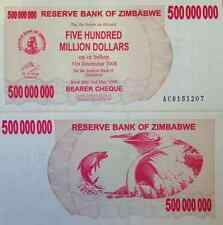 ZIMBABWE $500,000,000 BEARER CHEQUE P-60 UNCIRCULATED RARE FROM A USA SELLER !!!