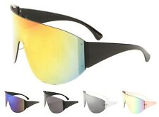 Wholesale 12 Pair Large Once Piece Rimless Sunglasses with Color Mirror Lens