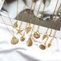 Fashion Women Shell Cowrie Beach Sea Pendant Choker Gold Chain Necklace Jewelry