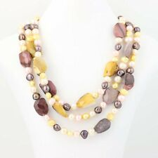 New Chunk 3-Strand Beaded Statement Necklace Mookaite Pearl Sterling Silver 19""