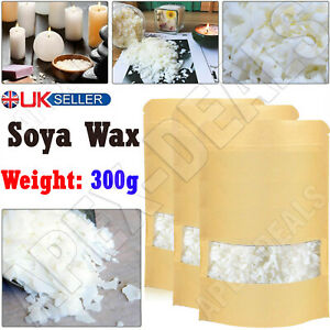300g 100% Pure Soy Wax/Soya Candle Making Wax Natural Flakes Clean Burning White