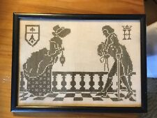 Vintage Cross Stitch Colonial Southern Belle And Gentleman Wood Frame Primative