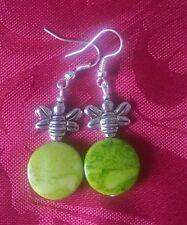 Acrylic green mottled bead,  silver plated, tibetan bee, pretty, hook, (274)