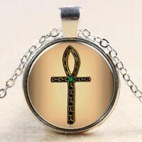Vintag Ankh Cross Glass Cabochon Tibet Silver pendant chain Necklace#F3