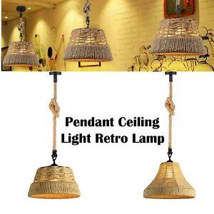 Vintage Industrial Changing Hemp Rope Retro Ceiling Chandelier Hanging Light