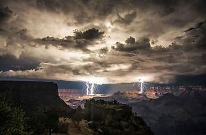 Framed Print - Massive Canyon Lightning Storm (Picture Thunderstorm Weather Art)