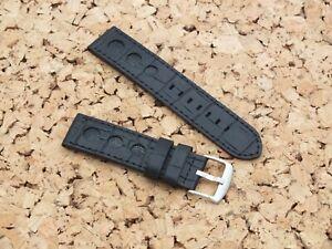 Genuine Leather Croc Grain Racing Watch Strap 23mm Black Watchgecko / Geckota