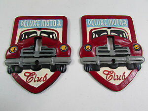 Pair of Heavy Cast Iron Red Deluxe Motor Club Light Switch Plate Covers