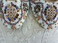 ROSE GOLD MULTI STONED INDIAN LADIES WEDDING KHUSSA SHOES SIZE 6