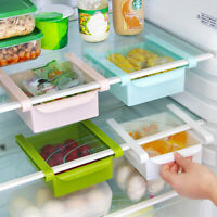 Slide Kitchen Fridge Freezer Space Saver Organizer Storage Box Shelf Holder Rack