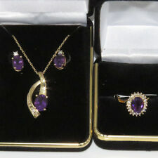 NYJEWEL Brand New 14k Solid Gold Amethyst Diamond Necklace Ring Earring set