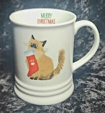 Fringe Studio Balinese Cat With Christmas Stocking Porcelain coffee tea mug