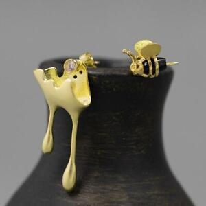 Bee And Honey Drops Asymmetrical Stud Earrings For Women 925 Silver Jewelry Gift