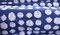 "Sanganeri Block Print Fabric By Yard Width 44"" Indian Indigo Cotton Voile Fabric"