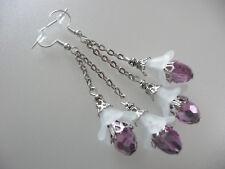Vintage Art Deco Style Czech Teardrop Crystal, Lucite Flowers Long Earrings Prom