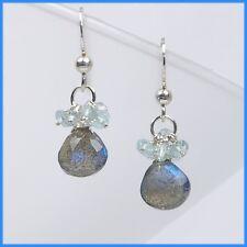 Handmade Precious Aquamarine & Labradorite Cluster Dangle Drop Silver Earrings
