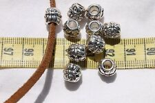 Flower Tibetan European Large Hole Beads Size 9.5mm & 4mm Hole Size/10 beads