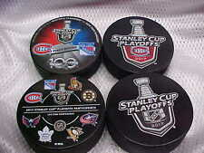 2017 NHL Stanley Cup Playoffs Montreal Canadiens Hockey (4) Puck Souvenir Pack