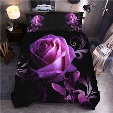Purple Rose Printed Duvet Quilt Cover Pillow Case Double Size Flower Bedding Set