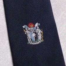 COAT OF ARMS CLUB ASSOCIATION TIE SHIELD CREST MOTIF NAVY BY TM LEWIN 1990s NAVY