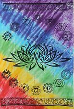 Lotus Flower Seven 7 Chakra Yoga TIE DYE Hippie Wall Hanging TAPESTRY Bedspread