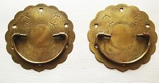 PAIR Antique Hardware Vintage Drawer Pull Trunk Part Chest Handle Salvaged Part