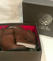VINCE CAMUTO Women's Ankle Boots SIZE 8.5M Brown Leather, 4 Inch Heel