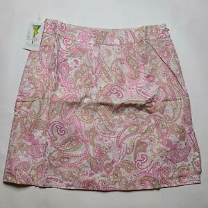 NWT Vintage Dead Stock To a Tee Golf Tennis Skort Women's SIZE 12 Pink Paisley