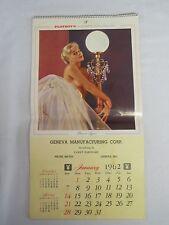 1962 Advertising Playboy Pin-Up Calendar, Geneva Manufacturing Corp., Geneva, IN