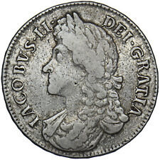 More details for 1687 crown - james ii british silver coin - nice