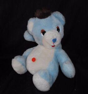 VINTAGE RAG DOLL INDUSTRIES BABY BLUE WHITE TEDDY BEAR STUFFED ANIMAL PLUSH TOY