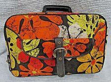 Orange Mod Flower Power Vintage Carry-On Canvas Briefcase Travel Bag FREE S/H