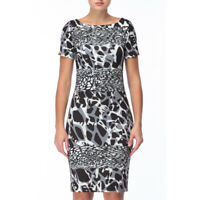 Escada Womens Gray Black Abstract Spotted Sheath Dress Short Sleeve Size 36