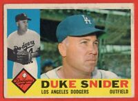 1960 Topps #493 Duke Snider VG-VGEX WRINKLE MARKED Los Angeles Dodgers FREE S/H