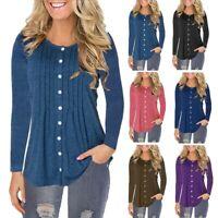 Plus Size Women Ladies Long Sleeve Loose Blouse T Shirt Comfy Baggy Button Shirt