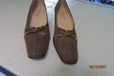 "Amalfi Closed Shoes, 9AAA, Light Brown Suede,  2"" heel, Patent bow, Slip on"