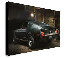 STEVE McQUEEN Original 1968 Mustang Bullitt Canvas Framed Wall Art Various sizes