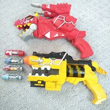 Power Rangers Dino Super Charge Yellow & Red T-Rex Morphers & Chargers. Works!