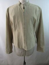 Chico's Leather Blazer Jacket Beige No Pockets Chico's Size 2 Conventional Sz 12