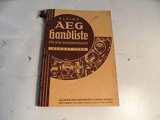 alter Katalog AEG Handliste 1936 Schalter Ventilatoren Elektroherde Steckdosen