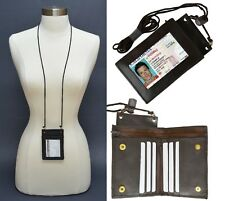BROWN LEATHER WALLET ID Badge Window Card Holder Zip Neck Strap New