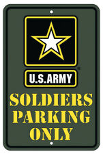 "Usa Army Soldiers Parking Only 8"" x 12"" Metal Sign Garage Embossed Plaque Decor"