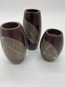 3 Tea Light Candle Holders Mango Wood Leaf Handmade Pillar Set Brown