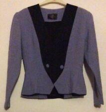 vintage 80s Ego lilac black panels fitted doublebreasted harlequin jacket 10 12